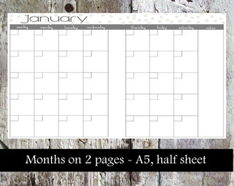 Monthly Planner Insert - month on 2 pages, A5, half sheet *INSTANT DOWNLOAD*