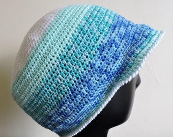 Hat or bucket hat with blue and white striped cotton visor
