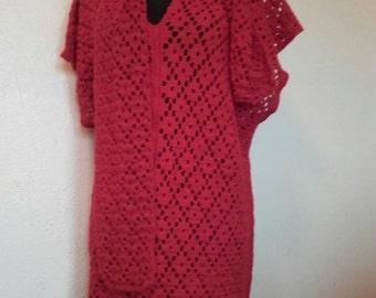 Robe fine pull long tunique fine rouge pure laine alpaga ajourée avec  écharpe assortie pièce unique fait main ef769072aca