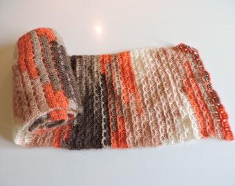 Echarpe légère couleurs automne n 1 ajourée graphique au crochet mohair  laine acrylique 7cfab30b283