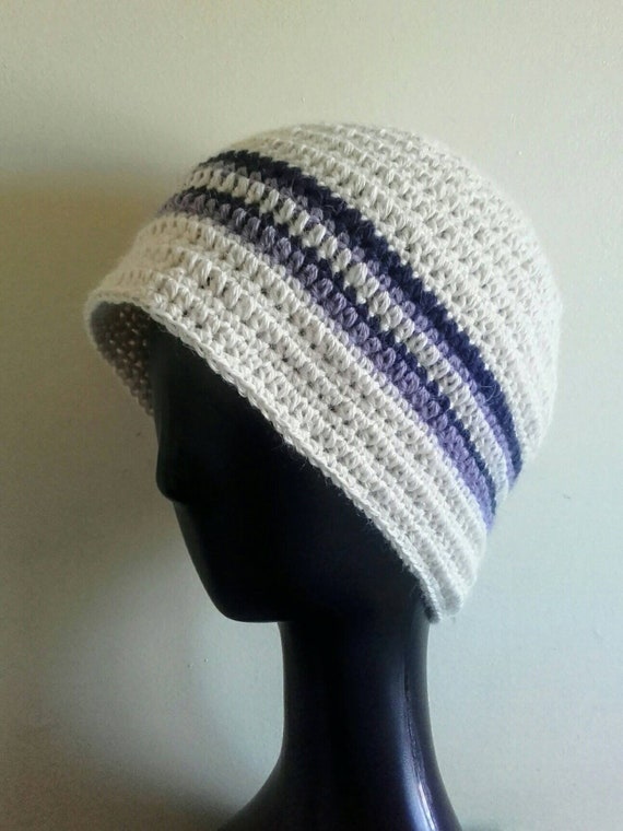 Bonnet large hiver blanc pure laine d alpaga à rayures   Etsy d389f331302