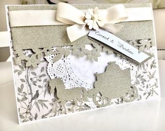 Personalised Wedding Card,Gold Wedding ,Wedding Gift,Handmade Wedding Card,Glitter Gold Weeding Wishes