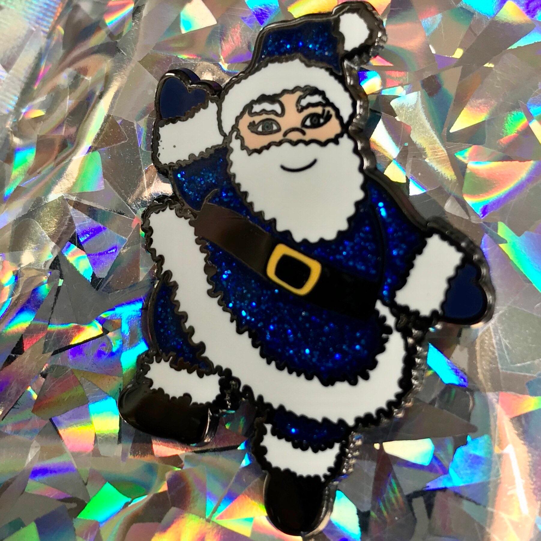 kitschmas pin Christmas pin Glitter Blue Father Christmas Santa Claus