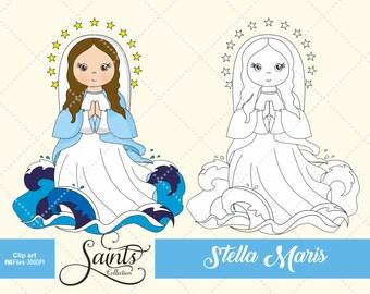 Stella Maris, Catholic Saint, Saint Clipart, Holly Virgen, Santos, Saints Collection, Gabz