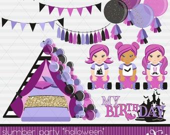 Slumber Party, Halloween Party Theme, Balloons, Pajama Party, Party Girls, Sleepover Tents, Movie Night, Birthday, Clipart, Gabz