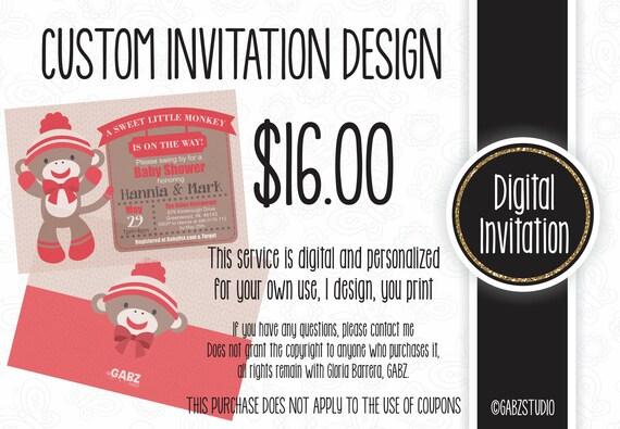 Custom Invitation Design Non Exclusive Special Order Gabz Etsy