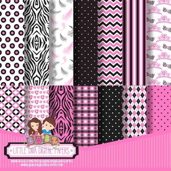 Gabz Background Party Theme Chevron Damask Digital Papers Minnie Mouse Vintage Patterns Decorative