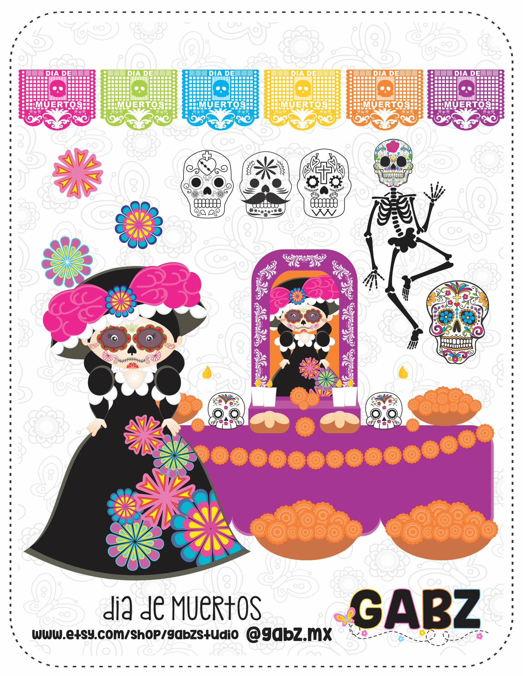 Dia de Muertos Day of the Dead Traditional Mexican Clipart   Etsy