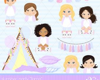 Slumber Party, Llama Party Theme, Pajama Party, Party Girls, Sleepover Tents, Movie Night, Birthday, Clipart, Gabz