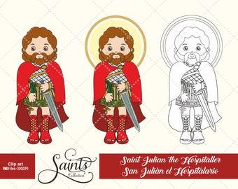 Saint Julian The Hospitaller, Catholic Saint, Saint Clipart, Santos, Saints Collection, Gabz