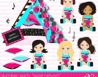 Slumber Party, Social Network Party Theme, Balloons, Pajama Party, Party Girls, Sleepover Tents, Movie Night, Birthday, Clipart, Gabz
