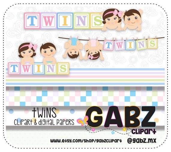 Twins Baby Shower Clipart Baby Boy Baby Girl Background Etsy
