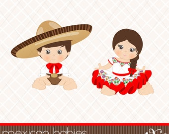 Mexican Babies, Mexican Folklore, Clipart, Aztec, Decorative, Baby Shower, Mexican, 5 de Mayo, Fiesta, Gabz