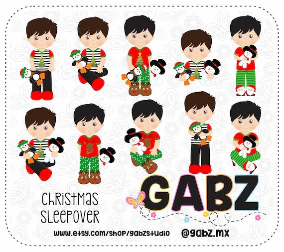 Christmas Sleepover Clipart Boys Holidays Pajamas Merry Etsy