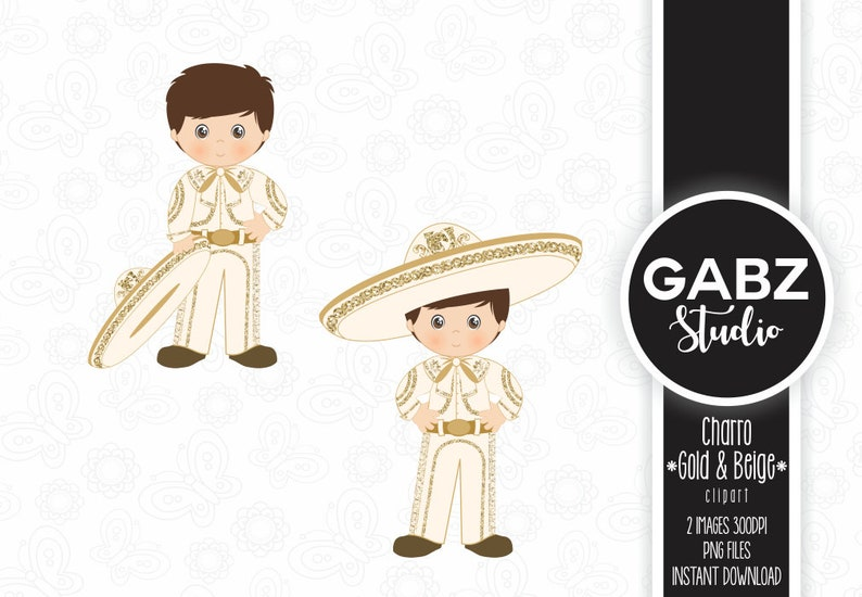 Decorative Charro Gabz Gold and Beige Clipart Aztec Gold Glitter Fiesta Mexican Mexican Folklore Communion