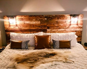 "The ""Kachemak Bay"" Alaska-inspired Design - Pallet Wood Headboard -  Rustic/Industrial - Repurpose, Reuse, Recycle. Each one is unique!"