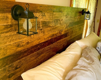 """The """"Colonial"""" - Early American/New England-inspired design - Pallet Wood Headboard - Rustic/Industrial - Repurposed wood. Each is unique!"""