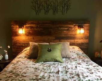 Pallet Wood Headboard - Rustic/Industrial - Repurpose, Reuse, Recycle. Each one is unique! SQUARED EDGES