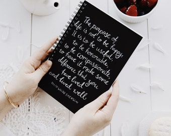 Spiral Notebook - Emerson Purpose Of Life Quote - Mothers Day Gift, Teen Girl Gift, Teacher Gift, Journal, Graduation Gift, womens gift