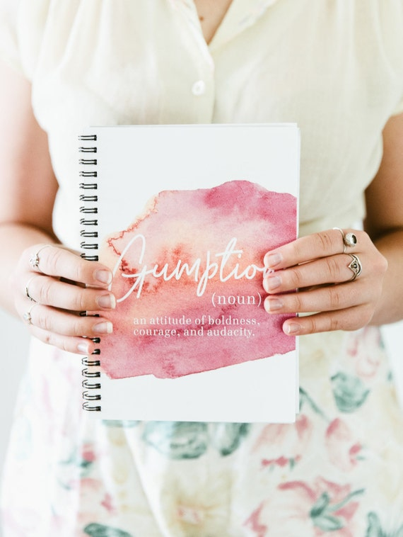 A5 Spiral Notebook Definition of Gumption Girl Boss Teen Girl Gift Feminism Quote Mothers Day Book Lover Inspirational Womens Gift