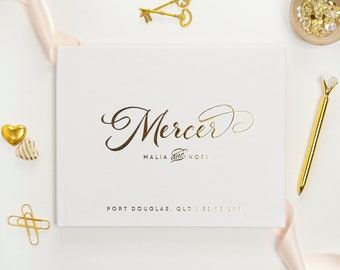 Personalized wedding guest book Bridal shower gift landscape guest book gold foil Unique wedding guestbook Tropical wedding gift