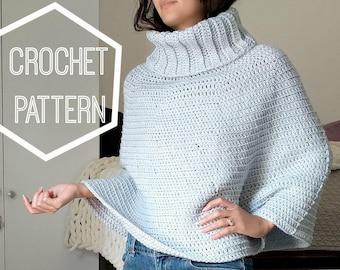 Cowl Neck Crochet Capelet Pattern, Cowl Neck Crochet Poncho Pattern, Crochet Patterns for Ponchos, Crochet Cape Pattern, Cowl Neck Poncho