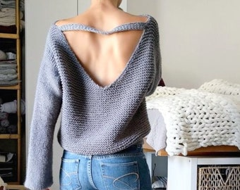 No Purls Sweater Pattern, V Back Knit Slouchy Sweater Pattern for Women, Oversized with V Neck Sizes S, M, L, XL. Easy Beginner Friendly PDF