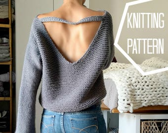 No Purls Sweater Pattern ONLY, V Back Knit Sweater Pattern, Slouchy Sweater Knitting Patterns, Oversized Sweater, Knit V Neck Sweater, PDF