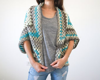 Granny Square Shrug Crochet Pattern, Beginner Crochet Shrug Pattern, Easy Crochet Cardigan Pattern, Size Inclusive Crochet Sweater Pattern