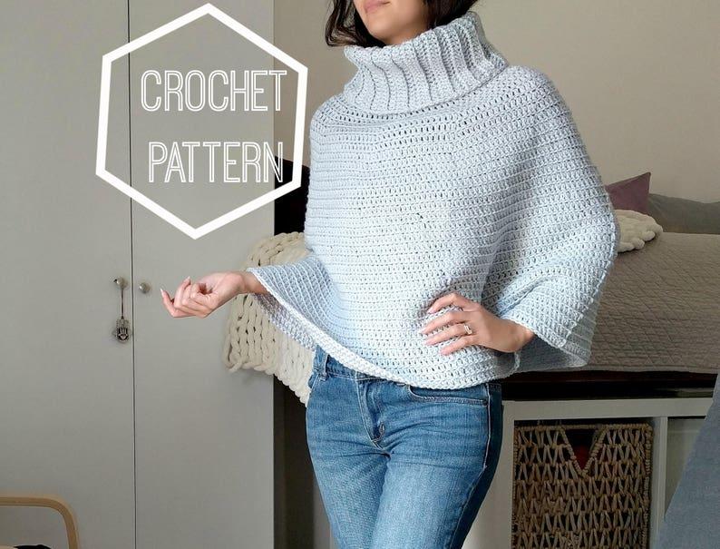 Cowl Neck Crochet Capelet Pattern Cowl Neck Crochet Poncho Etsy