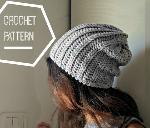 Ribbed Crochet Beanie Pattern Slouchy Crochet Hat Pattern Etsy