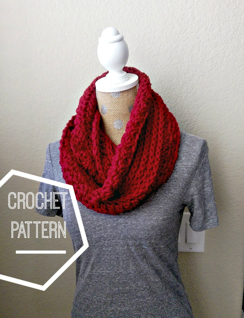 Chunky Ribbed Crochet Scarf Pattern Chunky Infinity Scarf Etsy