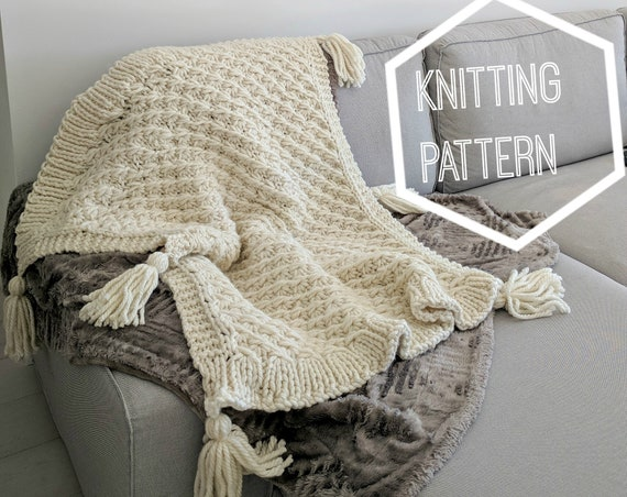 Marshmallow Knit Blanket Pattern Chunky Knitted Throw Blanket Etsy