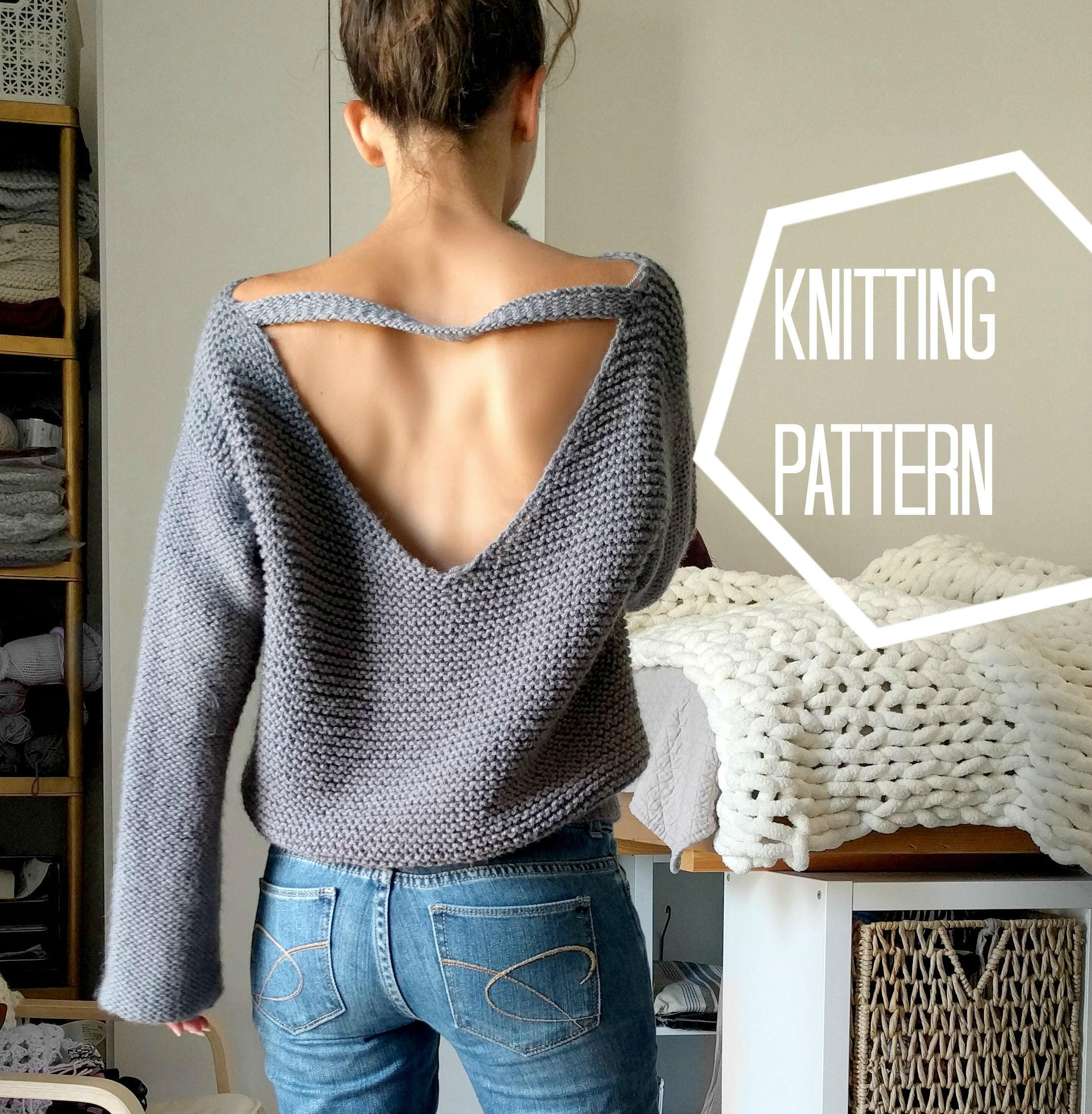 No Purls Sweater Pattern ONLY V Back Knit Sweater Pattern