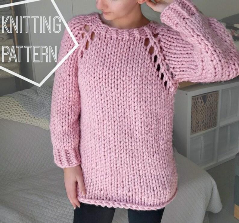 Chunky Knit Sweater Pattern Top Down Raglan Sweater Pattern Etsy