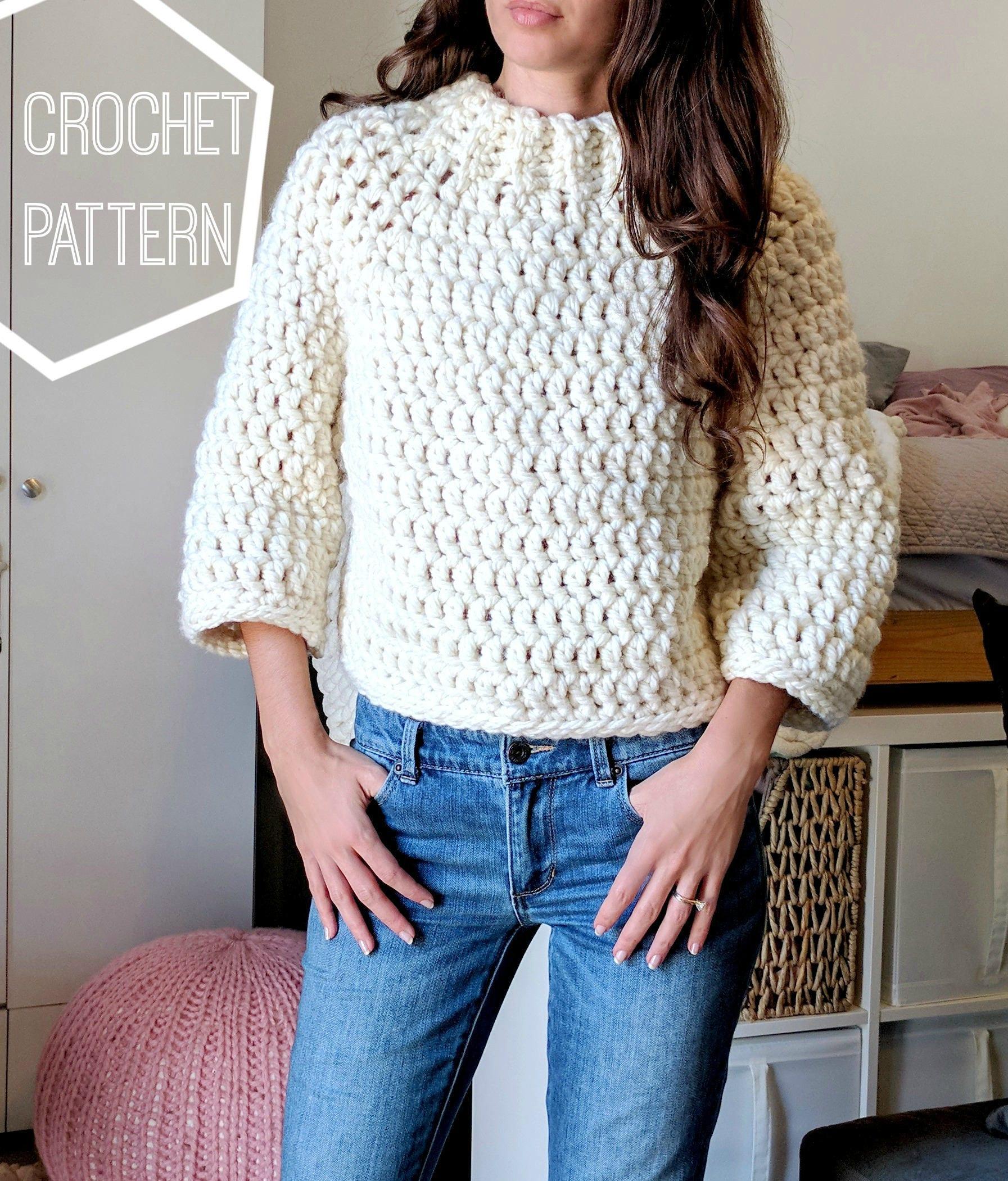 Chunky Crochet Sweater Pattern, Crochet Cropped Sweater, Crochet ...