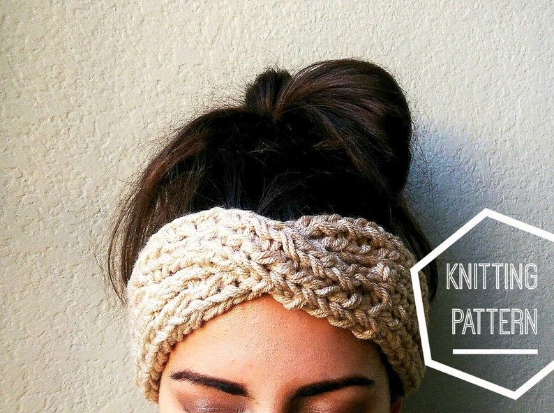 Turban Style Knit Headband Pattern DIGITAL DOWNLOAD Knit Ear  9ae85f520