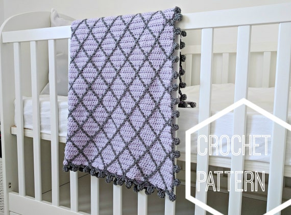 Half Double Diamond Crochet Baby Blanket Pattern Instructions Etsy
