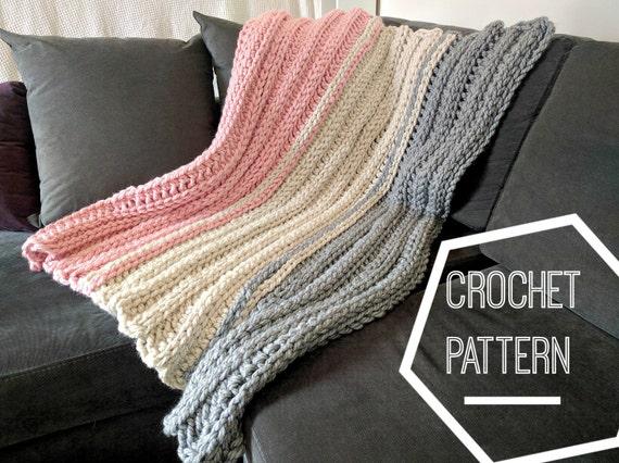 Super Chunky Crochet Blanket Pattern Ribbed Crochet Pattern Etsy