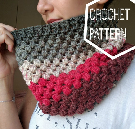 Striped Puff Stitch Cowl Pattern Caron Cakes Yarn Pattern Etsy
