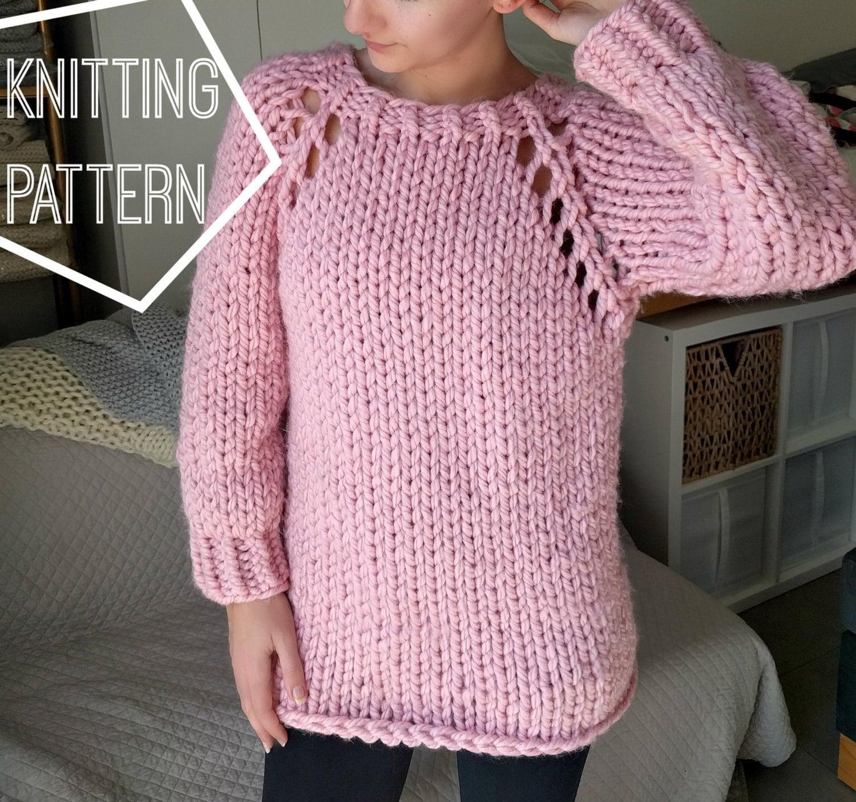 Chunky Knit Sweater Pattern, Top Down Raglan Sweater Pattern, Super ...