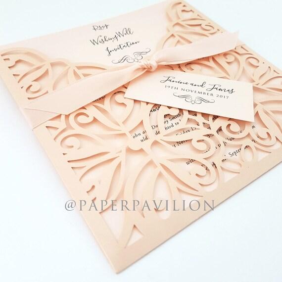 Pink Pocket Invitation Wedding Invitation Vintage Wedding Etsy