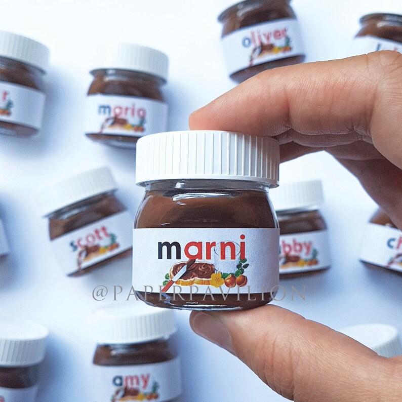 PERSONALISED mini nutella jar, nutella mini bonbonniere, nutella mini jars,  mini nutella placecards, nutella bonbonniere, nutella placecard