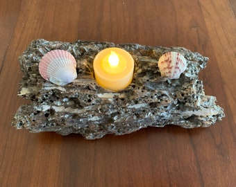Small Driftwood Tea Light Sanibel Island 9 inch  by 4 Inch wide home decorating