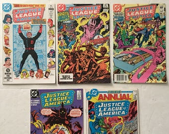 Justice League of America #s 209 219 220 252 Annual 3 Lot of 5 DC Comic Books 1982-1986 VF