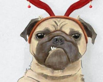 Christmas selfie - Pugs greeting card