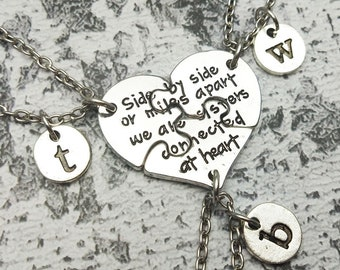 4b71c40efb set 3 best friend necklace, side by side or mile apart, personalize necklace,  best friendship necklace, girlfriend necklace, gift for sister