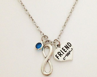 Friend necklace - infinity friend necklace - birthstone necklace - friendship necklace - sister gift - best friend - Christmas gift