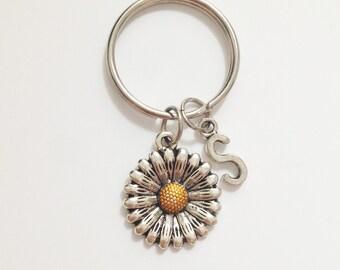 Sunflower keychain  - flower keychain - silver keychain - initial keychain - personalized keychain - customized - best friend - gift