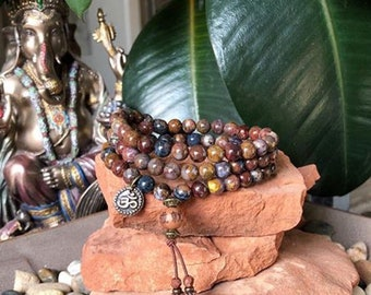 Soul Mastery Triple Wrap Mala Bracelet | Genuine African Pietersite | Reiki Infused Mala Beads | Powerful Spiritual Guidance | Intuition